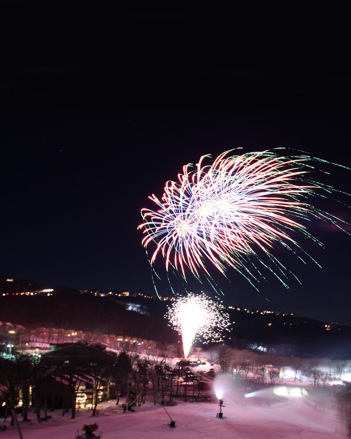 fireworks over the slopes on new years eve