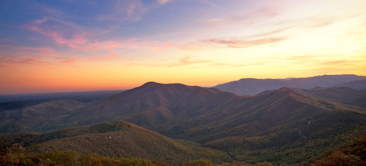 sunset over mountains Directions to Wintergreen Real